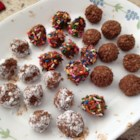Chocolate Bombs - I learnt how to make this recipe in Sweden. It tastes great even if it's totally high fat! I don't really know how many of these balls the recipe yields because everybody was eating the dough before the balls were made!!! Perfect for a skiing break with hot coffee or tea.