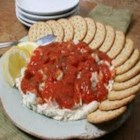 Shrimp Cream Cheese Spread - Crackers, bread sticks and vegetables all become fabulous when dipped in this cream cheese base shrimp spread.