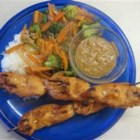 Sweet and Spicy Chicken Satay - A great mix of heat and sweet! Chicken skewers marinated and grilled to tender, juicy perfection. Enjoy with a peanut sauce, honey, or even plain!