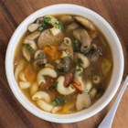 Gluten Free Elbows with Mixed Mushrooms and Italian Sausage Soup - This comforting sausage soup with pasta, mushrooms, garlic and rosemary is perfect on a chilly day.