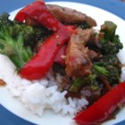 Fun Karnal (Beef and Broccoli) - Beef and broccoli are pan-fried in a thickened oyster sauce for a traditional Chinese main dish. Serve over white rice.