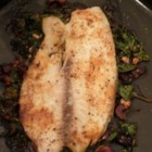Tilapia Feta Florentine - The Mediterranean flavors you love, including olive oil, lemon, garlic, and feta cheese, are combined in a quick fish dish served Florentine-style with fresh cooked spinach.