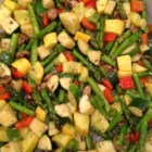 Whitney and Ashley's Flawless Roasted Vegetables - Zucchini, yellow squash, red bell pepper, and onions are tossed with olive oil and herbs and roasted until just tender in an easy-to-clean-up parchment-lined pan.