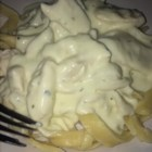 Healthier Quick and Easy Alfredo Sauce - Still rich and creamy, this alfredo recipe has been made healthier by using fat-free cream cheese.