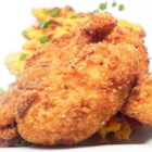 Potato Crunchy Tenders - Crunchy fried chicken tenders, coated in garlic flavored mashed potato flakes before frying, make a quick, easy main dish or snack.