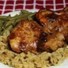 Honey-Garlic Slow Cooker Chicken Thighs - This is an easy slow cooker recipe for chicken thighs in a sauce made with soy sauce, ketchup, and honey.