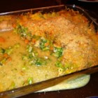 Cheesy Chicken Broccoli Bake - A hot, savory chicken casserole with broccoli and carrots is easy to make when you use condensed soups for flavor.