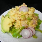 Rice and Ham Salad - This rice salad has a bit of curry powder stirred into the creamy French dressing: the flavor is amazing. Especially after chilling. Lots of other good touches too  - sliced radishes, diced cauliflower and peas. Serves six.