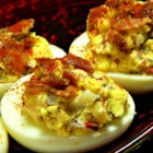 Jalapeno Bacon Cheddar Deviled Eggs - Jalapeno, bacon, and Cheddar cheese make everything better - including deviled eggs!