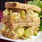 Fruity Curry Chicken Salad - A healthy and tasty chicken salad with a fruity twist - great on a croissant or in a honey pita. Note: This salad is best if eaten the day after preparation. This allows the ingredients time to mingle, giving a fuller flavor. If desired, use nonfat mayonnaise.