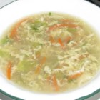 Deluxe Egg Drop Soup - This deluxe egg drop soup features green onions, cabbage, carrots, and ginger creating a flavorful soup. Serve as a meal or alongside a meal dish.