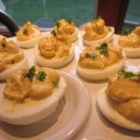 Fabienne's Black Olive and Curry Deviled Eggs - Curry marries black Kalamata olives to produce a rich, distinctive deviled egg. Be sure to make enough: your guests will ask for more!