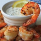 Grilled Shrimp with Lemon Aioli  - Cured lemons give the aioli an extra zip in this recipe for grilled shrimp with lemon aioli.