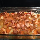Carrot Casserole - Carrots are baked with cream of celery soup and processed cheese.  Buttery, seasoned croutons top it all off.