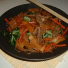 Chap Chee Noodles - A Korean style noodle dish made with meat and vegetables.