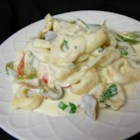 Easy Chicken Pasta Alfredo - Mushrooms simmer in a creamy Alfredo sauce with tortellini pasta and chunks of chicken.