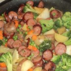Easy Kielbasa Skillet Dinner - Kielbasa quickly turns into a one-dish meal when you add potatoes and broccoli.
