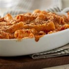 Baked Ziti with Cheese - Ziti in a creamy tomato sauce with lots of cheese is baked in individual serving dishes for this gourmet weeknight meal.