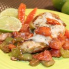Tomato-Lime Chicken - This tomato and lime chicken topped with provolone cheese is a quick meal to prepare on weeknights. Serve by itself or with pasta.