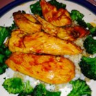 Emergency Chicken - This is a simple chicken recipe using just barbeque sauce, Worcestershire sauce, and garlic powder to make a tasty sauce for sliced chicken.