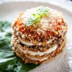 Crispy Eggplant Parmesan Stacks - Eggplant rounds are breaded and baked, then stacked and layered with Ragu(R) Old World Style(R) Traditional Sauce and mozzarella cheese, then baked again until hot and cheese has melted.
