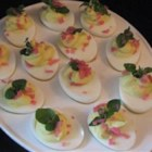 Japanese Wasabi Deviled Eggs - Wasabi paste adds a nice, zesty twist to traditional deviled eggs, and they are gorgeous garnished with fresh pea shoots and pickled ginger.