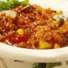 Rainbow Veggie Chili - Multi-colored vegetables make this chili delicious and pretty! Serve with cornbread for a great fall dinner.