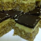 'Not Nanaimo Bar' Squares - Like the Nanaimo Bar, this bar cookie has a center custard layer and chocolate top. It's the peanut butter base that makes it 'Not Nanaimo.'