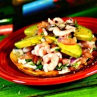 Simple Shrimp Tostadas - Tostadas layered with a homemade salsa, shrimp, and avocado are a quick and easy lunch or appetizer.