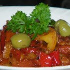 Moroccan Cooked Pepper Salad - A tasty cooked salad with tomatoes and green peppers. It's good warm or cold.