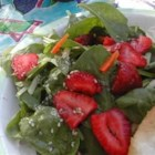 Strawberry Spinach Salad I - The dressing in this spinach and strawberry salad is fabulous. It begins with vinegar and olive oil and goes on from there with sugar, bits of onion, Worcestershire, sesame seeds, paprika, and poppy seeds. It 's chilled before serving so all of the flavors mingle nicely.