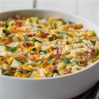 Creamy Corn and Zucchini - A quick and delicious creamy corn side dish.