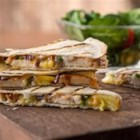 Sweet and Spicy BBQ Quesadillas - Not your usual quesadillas, these quesadillas feature the sweet taste of pineapple with the smoky flavour of grilled chicken and barbecue sauce.
