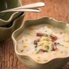 Creamy Corn Chowder - A one-pot soup, thickened with mashed potatoes and made creamy with cheese.