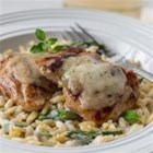 Creamy Orzo and Chicken - Pan-seared chicken thighs served with creamy orzo pasta, asparagus and herb & garlic cheese.