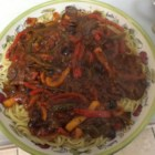 Pepper and Olive Pasta Sauce - This is different than the typical red sauce. It's a light, flavorful sauce made with vegetable juice cocktail, kalamata olives, bell peppers, and spices.