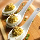 Japanese Deviled Eggs - The flavorful heat of wasabi wakes up the senses in a Japanese fusion-style deviled egg.