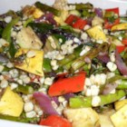 Grilled Vegetable Salad with Fresh Herb Vinaigrette - This delicious grilled vegetable salad with homemade vinaigrette is to be served room temperature and tastes great the next day.