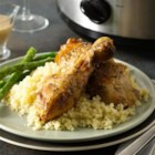 Slow Cooker Creamy Roasted Garlic Chicken - Slow-cooked chicken, browned and served with a creamy roasted garlic sauce, makes a comforting meal and is great served with couscous.