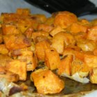 Low-Cal Roasted Sweet Potato Bites - Roasted sweet potato bites seasoned with rosemary and thyme are a nice substitute for hash browns or a perfect side dish on Thanksgiving or Christmas.