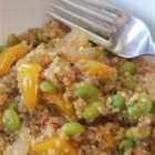 Protein-Packed Spicy Vegan Quinoa with Edamame - Quinoa and edamame simmer in vegetable broth and sauteed spicy vegetables are stirred in creating a vegan, protein-packed post-workout meal.