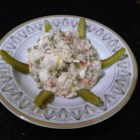 Olivie (Russian Potato Salad) - Olivie, Russian potato salad, is made with potatoes, carrots, peas, eggs, and pickles.