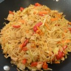 Chicken Yakisoba - This traditional Japanese yakisoba noodle dish includes cabbage and chicken in a spicy sauce.