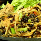 Wild Rice Spaghetti Chicken - The chewy nuttiness of wild rice gives this chicken and pasta dish a distinctive taste and texture.  Chicken broth, onion and red pepper round out the flavors.