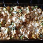 Quick Chicken and Stuffing Casserole - Chicken, broccoli, stuffing, and Cheddar cheese are baked into a warm and comforting casserole perfect for weeknight dinner.