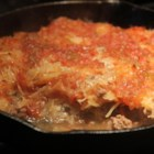 BBQ Sauerkraut Casserole - Baking mellows the sauerkraut in this hamburger casserole, and gives it a sweet BBQ flavor.