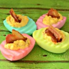 Family Ties Chipotle Deviled Eggs and Bacon - Deviled eggs get a south-of-the-border kick from homemade chipotle sauce, and a sweet-salty touch from maple-cured bacon.