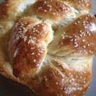 Braided Egg Bread - This is a large, lovely egg bread, braided and sprinkled with sesame seeds. It 's impressive on the buffet table at your next party.
