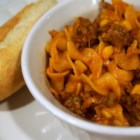 Quick and Easy Goulash - A homemade meal easy enough for a busy college student!  Hearty beef and cheese with noodles and corn.