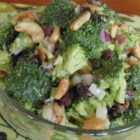 Sweet and Savory Broccoli Salad - A salad of broccoli, bacon, raisins, cashews, and onion gets a simple and sweet mayonnaise-based dressing in this easy recipe.